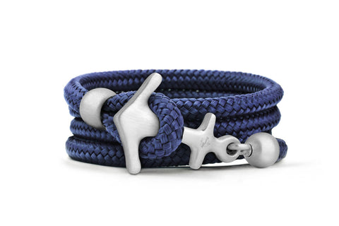 Maui Blue & Matt Silver Anchor Bracelet