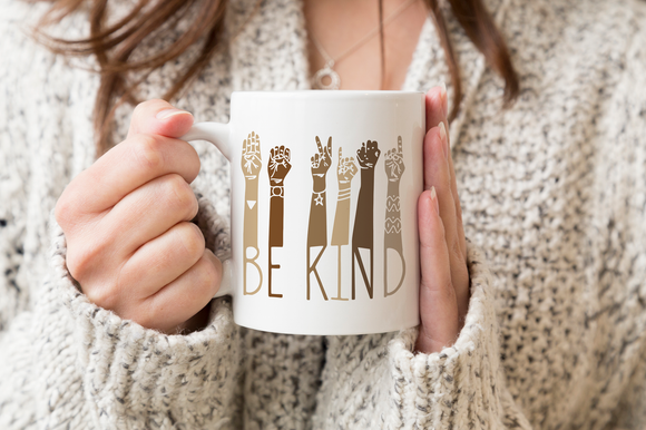 Be Kind Sign Language Coffee Mug - Inspirational Gift for Friend - Diversity Gift - ASL