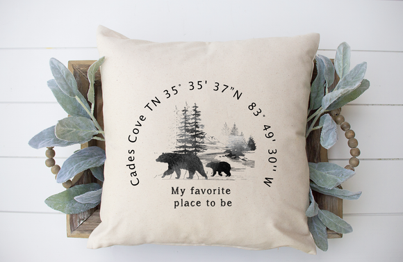 Cades Cove Coordinates Decorative Pillow