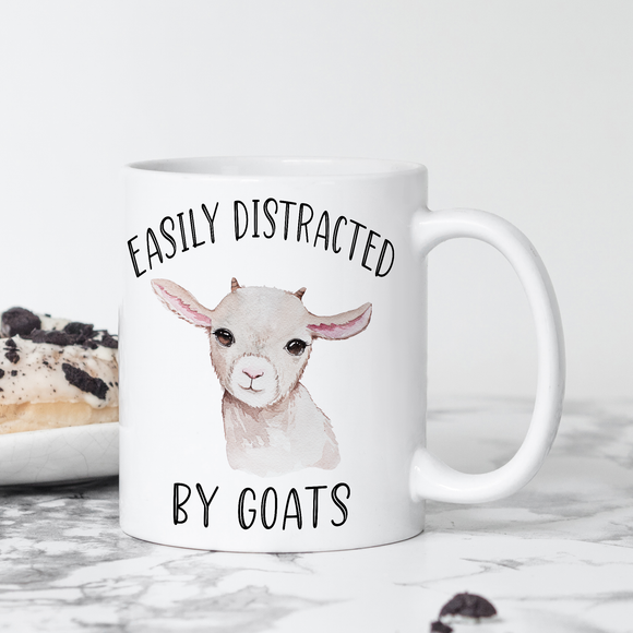 Easily Distracted by Goats Coffee Mug Gift - Goat Gifts for Goat Lovers - Goat Coffee Cup