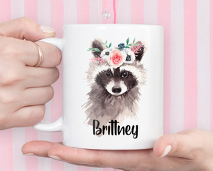 Personalized Floral Raccoon Coffee Mug Gift - Raccoon Lovers Gift - Rocky Raccoon Mug - Custom Gift for Her - Raccoon Life