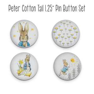 Easter Bunny Pinback Button Set -  Peter Rabbit Flair