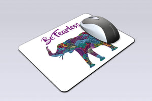 Tribal Elephant Custom Mouse Pad - Inspirational Be Fearless - Personalized Mouse Pad - Desk Accessory - Computer Accessory - Birthday Gift