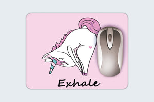 Unicorn Mouse Pad -  Fun Custom Mouse Pad - Yoga Unicorn Mouse Pad - Exhale - Desk Accessory - Computer Accessory - Unique Gift For Her