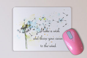 Inspirational Watercolor Mouse Pad -  Make a Wish Dandelion Mouse Pad - Mother's Day or Birthday Gift - Motivational Quote - Desk