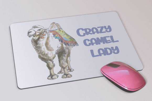 Fun Camel Mouse Pad - Crazy Camel Lady Mouse Pad - Bactrian camels - Birthday Gift - Gift for Her - Desk Accessory