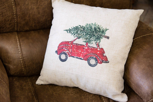 Christmas Bug Car Decorative Pillow Cover