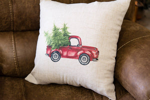 Christmas Vintage Red Truck with Tree Pillow Cover