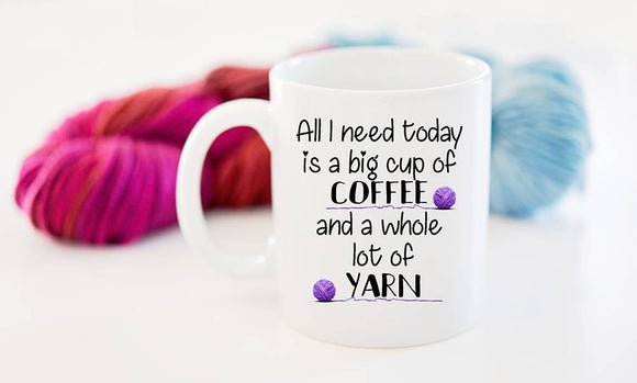 Coffee and Yarn Coffee Mug Gift for the Knitter or Crocheter