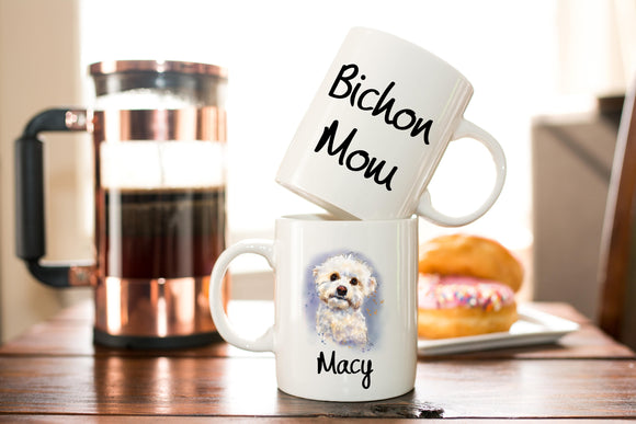 Personalized Bichon Mom Coffee Mug Gift - Bichon Frise - Dog Lover Gift - Birthday or Mother's Day Gift  - Sublimated Coffee or Tea Mug