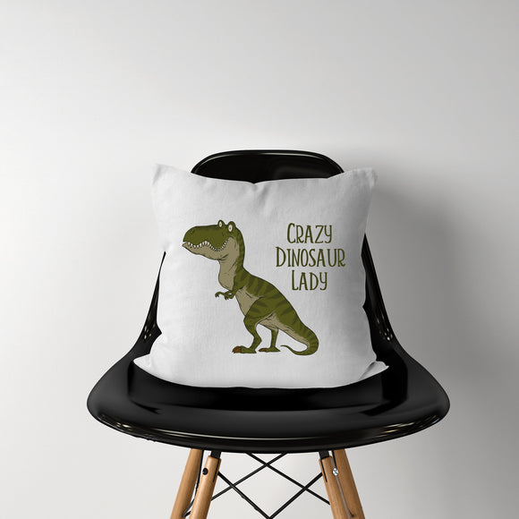 Crazy Dinosaur Lady Throw Pillow Case