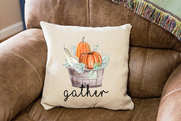 Fall Harvest Basket Pillow - Gather Decorative Pillow - Thanksgiving Pillow  - Gift for New Home - Home Decor