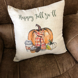 "Fall Pillow - Happy Fall Y'all Decorative Pillow  - 18"" Couch Pillow  - Gift for New Home - Home Decor"