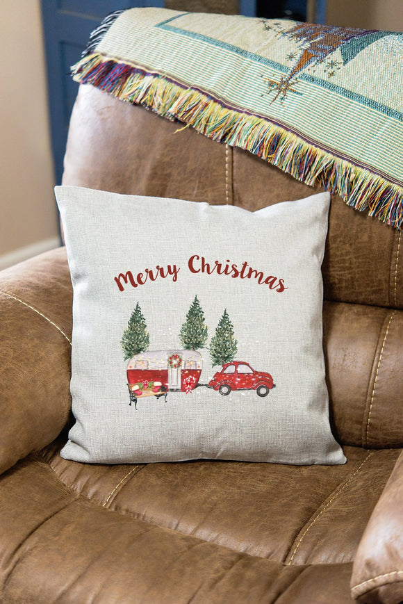 Decorative Happy Camper Christmas Pillow Cover