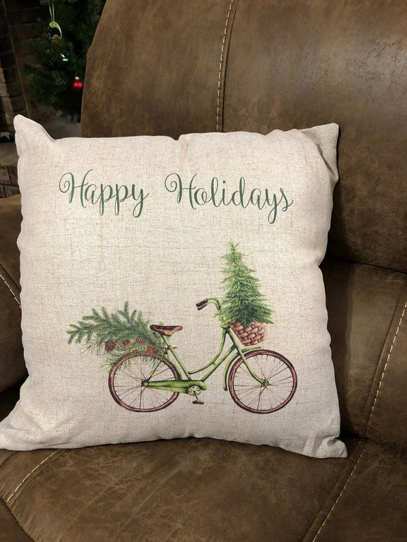 Christmas Bicycle Pillow Cover
