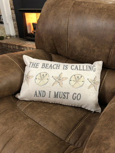 Beach or Lake House Pillow Cover with Shells