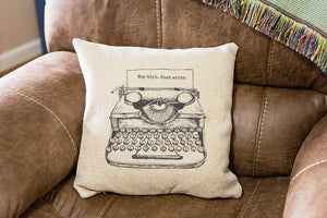 Personalized Writers Vintage Typewriter Pillow Cover