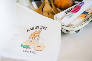 Pumpkin Spice Tea Towel - Fall Decor Flour Sack - Farmhouse Decor - Kitchen Towel - Housewarming Gift - Kitchen Decor - Pumpkin Decor Autumn