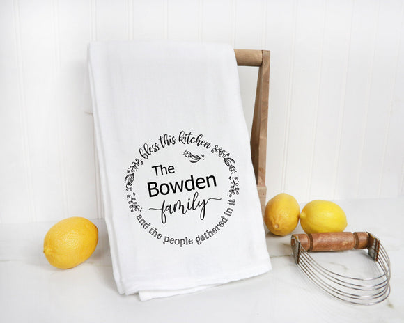 Bless this Kitchen Personalized Farmhouse Tea Towel