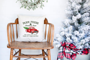 Vintage Farm Fresh Red Truck Pillow Cover