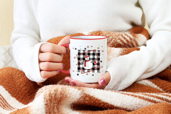 Buffalo Plaid Snowman Coffee Mug