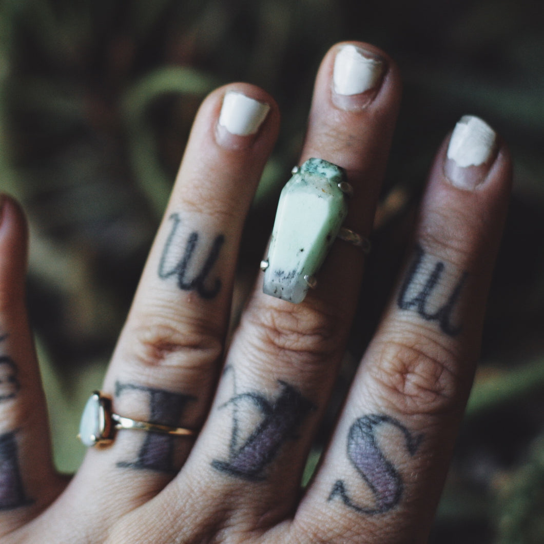 Chrysoprase Small Coffin Ring