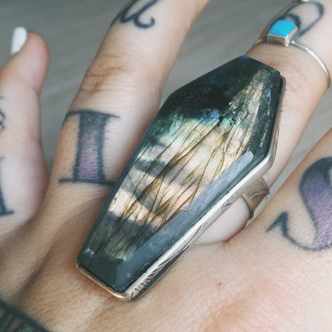 FLASH SALE! Labradorite and Sterling Silver Coffin Ring