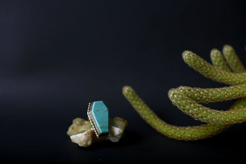 Turquoise and Copper Coffin Ring