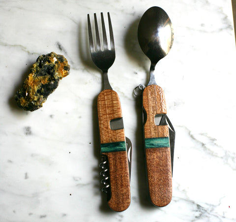Adventure Utensil - Cherry, Teal and Mahogany - by Black Springs Folk Art
