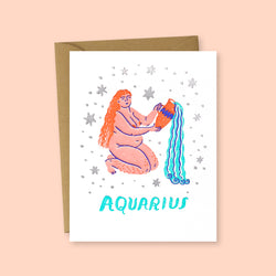 Zodiac Aquarius Greeting Card