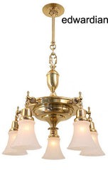 edwardian brass pan light chandelier