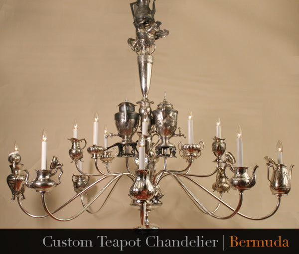 custom hand made antique teapot chandelier for private residence in bermuda