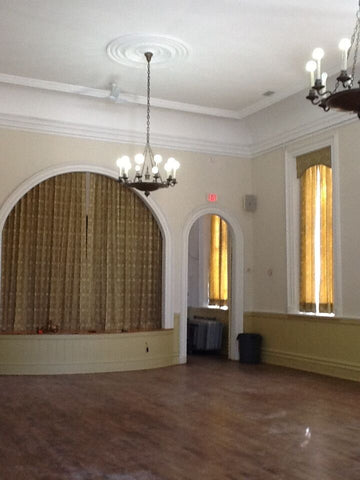 before lighting restoration in ancaster town hall