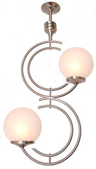 satin nickel midcentury chandelier