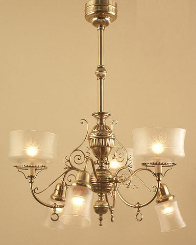 restored 1880s victorian gas electric chandelier
