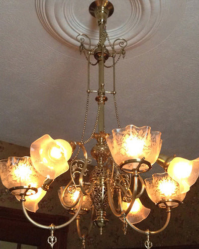 restored victorian gas electric chandelier