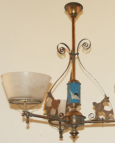 eastlake 3 light 1870s-1880s gasolier, alpha brass