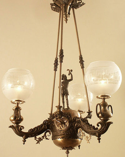 Starr, Fellows and Co. 1859 whale old rod hung chandelier. Restored