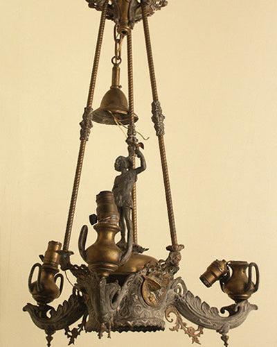 Starr, Fellows and Co. 1859 whale old rod hung chandelier. For restoration.
