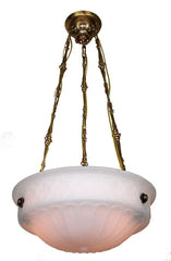 Chain Suspended Gothic Revival Milk Glass Dome