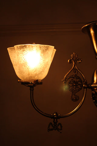 Antique Circa 1890, Petite Two Light Gas Fixture With Antique Acid Etched Ruffled Sahdes