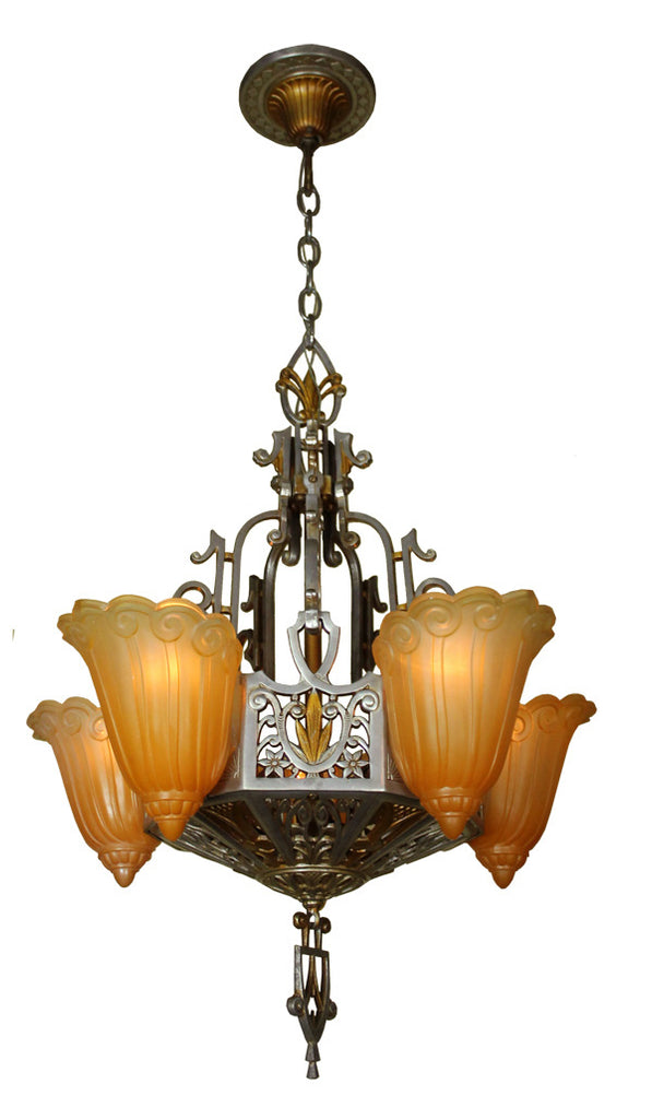 Antique circa 1930 signed five light lincoln mfg co art deco antique circa 1930 signed five light lincoln mfg co art deco slipper shade chandelier mozeypictures Gallery