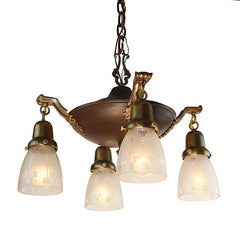 Antique Circa 1910 Era Four Light Edwardian Pan With Antique Stencil Etched Art Nouveau Inspired Shades