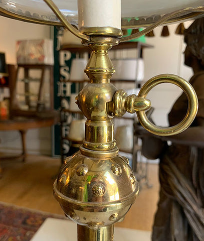 Incredible 1880s Converted Gas Bronze Eastlake Newel Post Light Attributed to Thackera with Samurai Acid Etched Shade