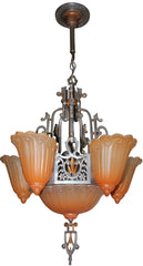 Antique Circa 1930, Six Light, Signed Lincoln MFG Co. Art Deco Slipper Shade Chandelier