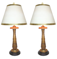 $1300 PAIR - Antique early 1900s Incredible Pair of Bronze Beaux Arts Table Lamps