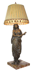Early 1900s Antique Figural Singing Gypsy Table Lamp with Handmade Pleated Silk Shade