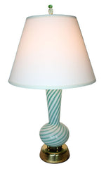 Circa 1960s Murano Green Swirl Italian Table Lamp