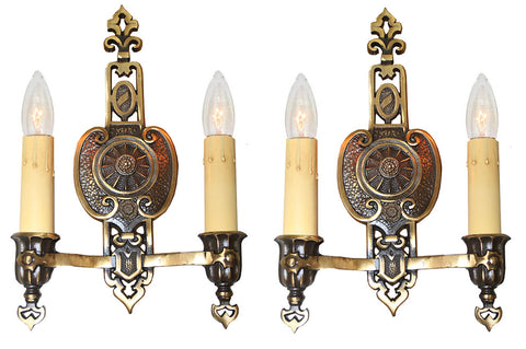 $700 PAIR - Antique Circa 1925-30s Two Light Art Deco Wall Sconces with Original Bronze Plated Finish