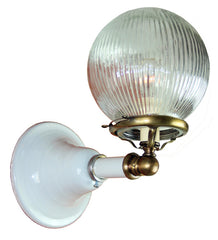 Antique Circa 1910, Converted Gas Commercial/Industrial White Enamel Wall Sconces